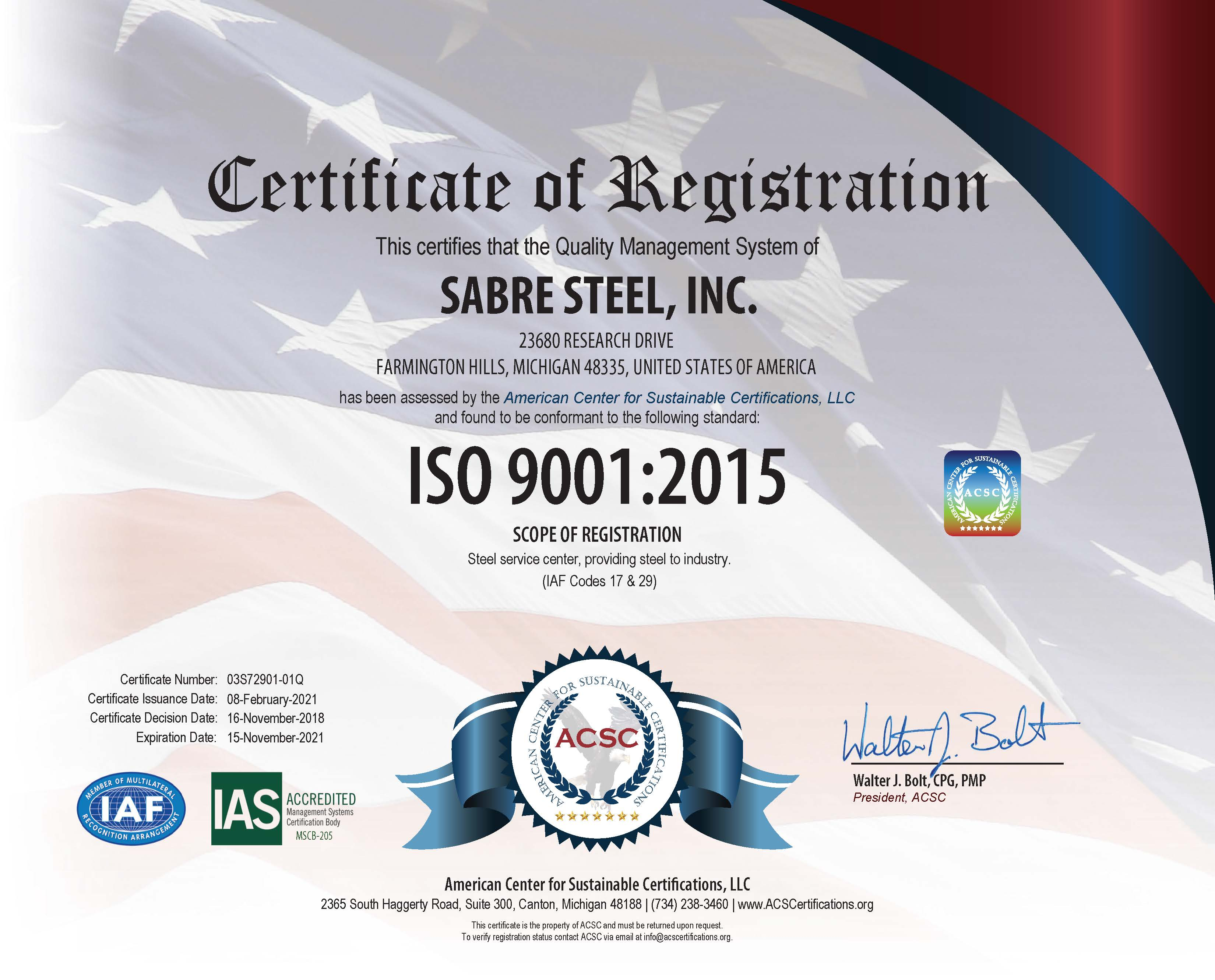 Sabre Steel ISO Certification